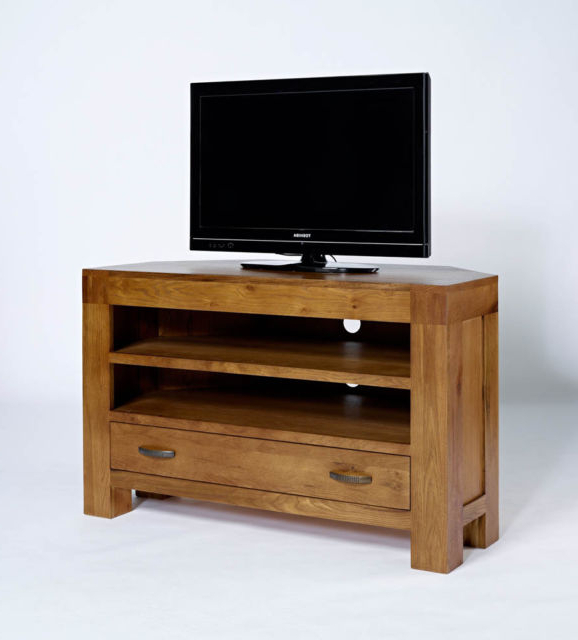 Dark Wood Corner Tv Cabinets Within Popular Rustic Oak Corner Tv Unit Television Cabinet Reclaimed Wood (View 8 of 20)