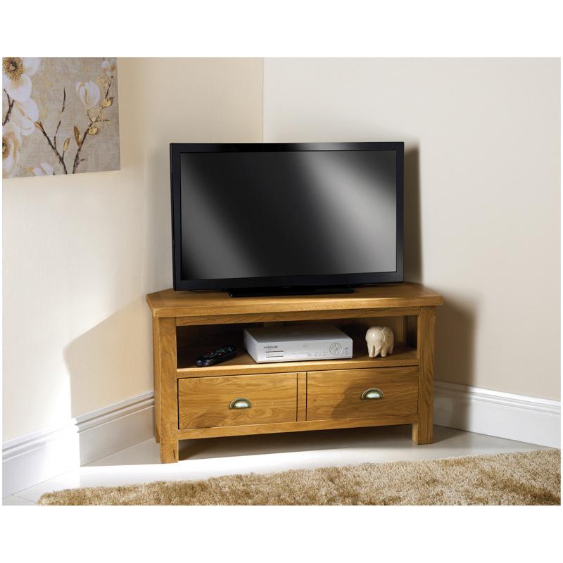 Dark Wood Corner Tv Stands Throughout Well Known Wiltshire Oak Corner Tv Unit (View 5 of 20)