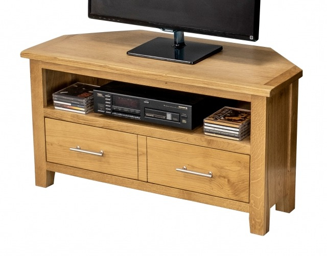 Dark Wood Corner Tv Stands With Widely Used Canada Oak Corner Tv Unit – Corner Tv Stands – Furniture World (Gallery 20 of 20)