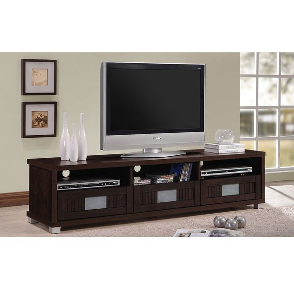 Dark Wood Tv Cabinets Pertaining To Fashionable Baxton Studio Taymor Contemporary Dark Brown Wood 63 Inch Tv Cabinet (Gallery 11 of 20)