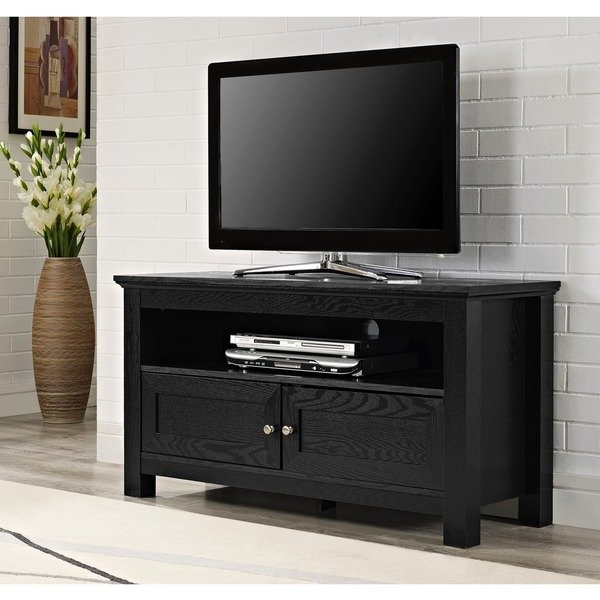 "Dark Wood Tv Stands For Preferred Shop 44"" Tv Stand Console – Black – 44 X 16 X 23H – Free Shipping (Gallery 8 of 20)"