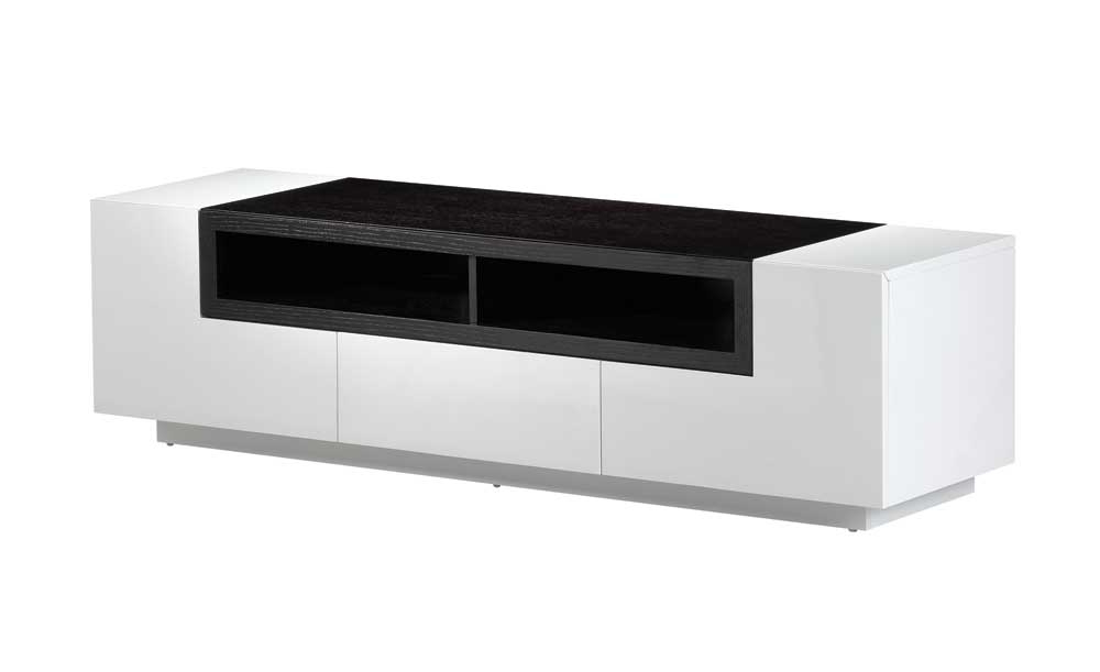 Dark Wood Tv Stands For Widely Used White Gloss Dark Oak Tv Stand (View 5 of 20)