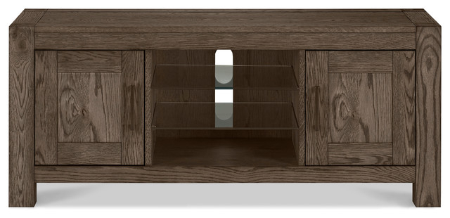 Dark Wood Tv Stands In Fashionable Tyler Dark Oak Tv Stand – Contemporary – Entertainment Centers And (Gallery 4 of 20)