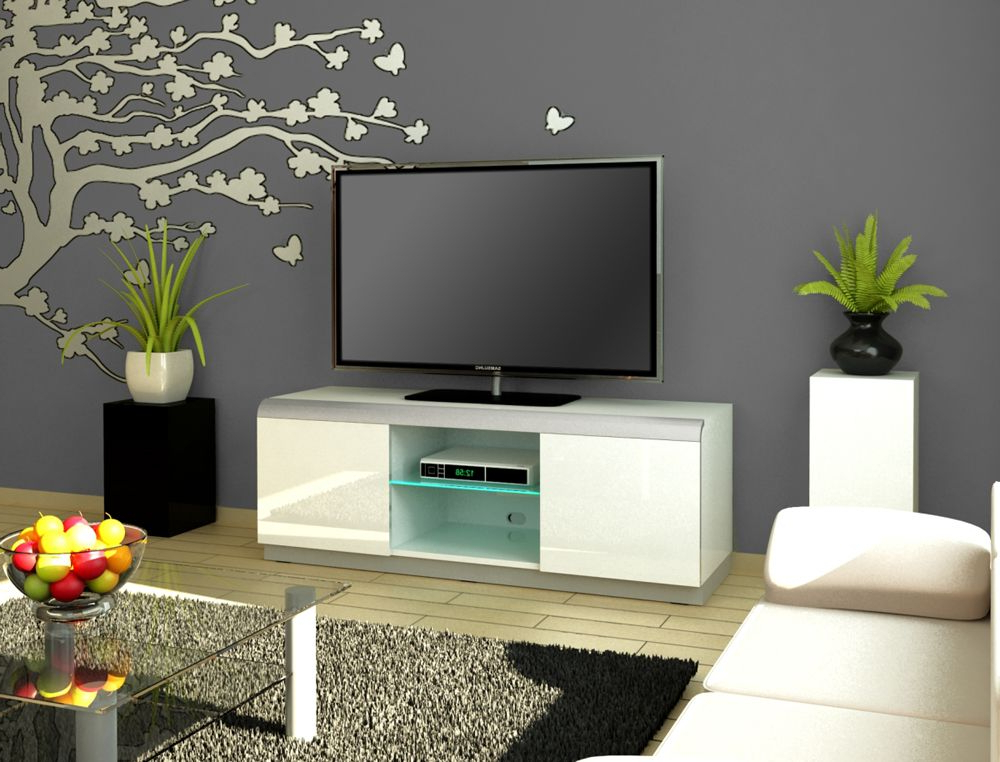 Denver 2 White Tv Stand Intended For Most Popular High Gloss White Tv Cabinets (Gallery 8 of 20)