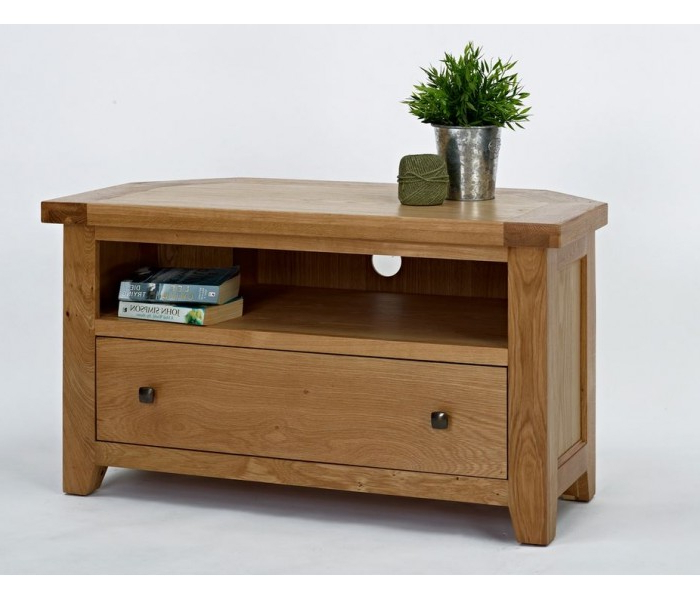 Devon Oak Corner Tv Unit Throughout Most Popular Oak Corner Tv Stands (Gallery 13 of 20)