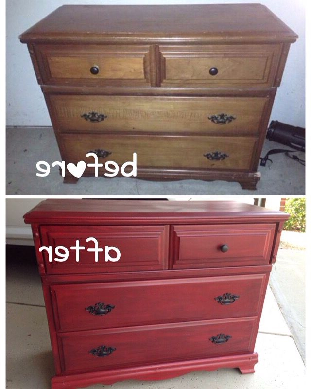 Diy, Before And After Chest Of Drawers That Will Be Used As A Tv Throughout Trendy Rustic Red Tv Stands (View 6 of 20)