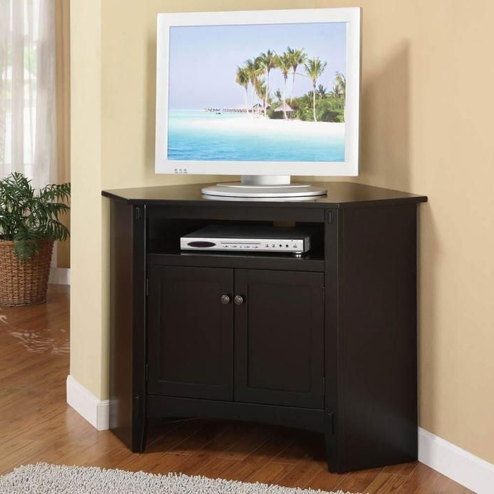 Door Corner Tv Stands At Brookstone—Buy Now Within Small Corner Tv Cabinets (Gallery 11 of 20)