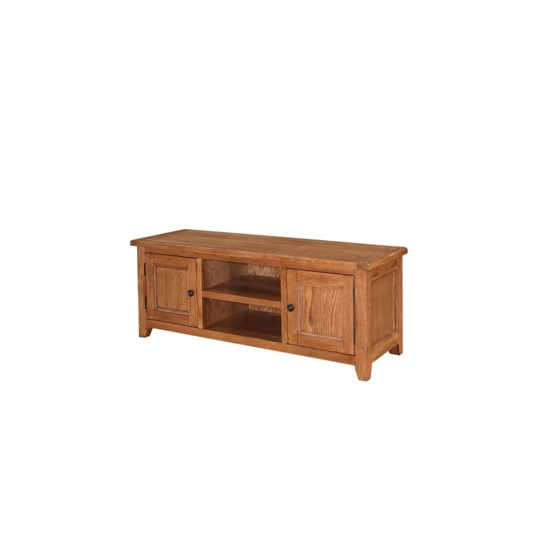 Dorset Tv Stand/unit, 2 Doors + Shelf, Subtle Round Corners, Oak For Widely Used Tv Stands Rounded Corners (Gallery 10 of 20)
