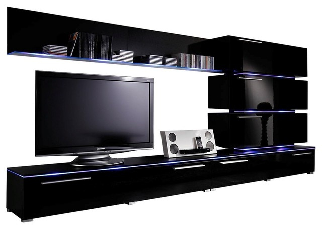 "Dortmund Entertainment Center Wall Unit With Led Lights 75"" Tv Stand Regarding 2017 Entertainment Center Tv Stands (View 6 of 20)"