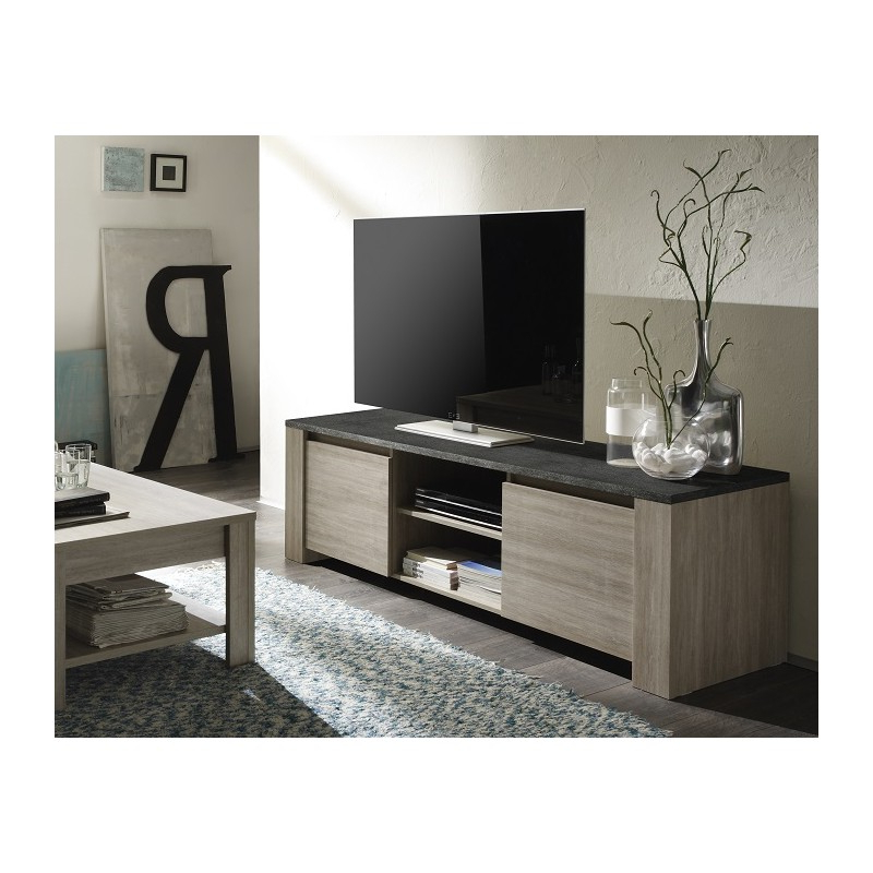 Elba – Oak Tv Stand With Marmor Imitation Top – Tv Stands (1081 With Newest Grey Wood Tv Stands (View 6 of 20)