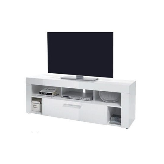 Elista Small Lcd Tv Stand In White High Gloss With 1 Drawer (View 3 of 20)