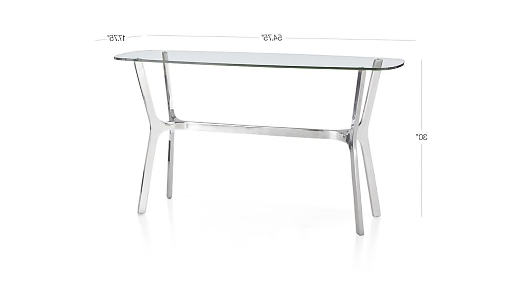 Elke Glass Console Table With Polished Aluminum Base (View 8 of 20)