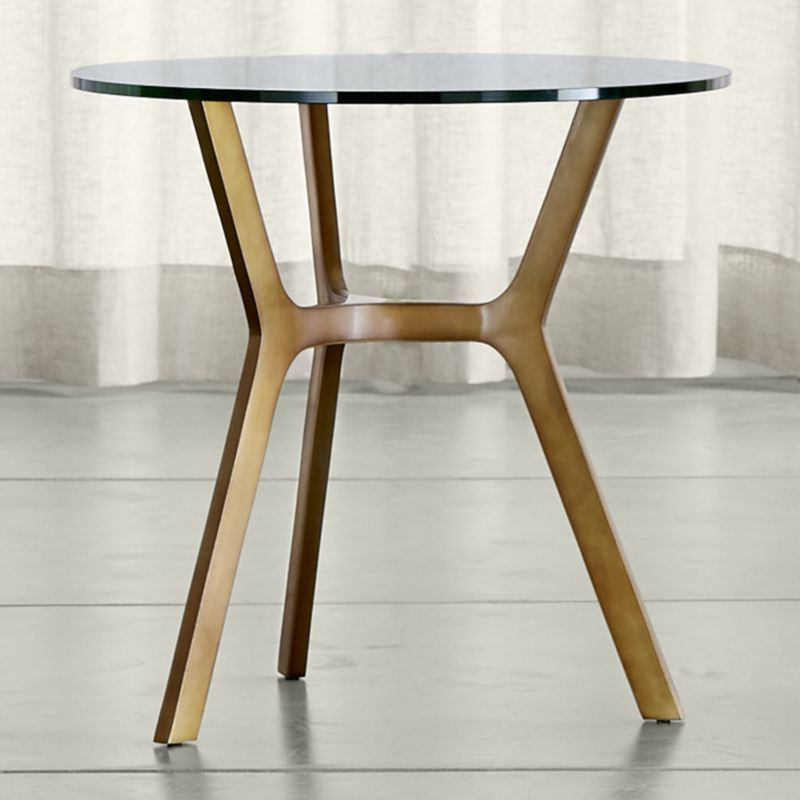 Elke Glass Console Tables With Polished Aluminum Base Throughout Preferred Elke Glass End Table With Brass Base (View 10 of 20)