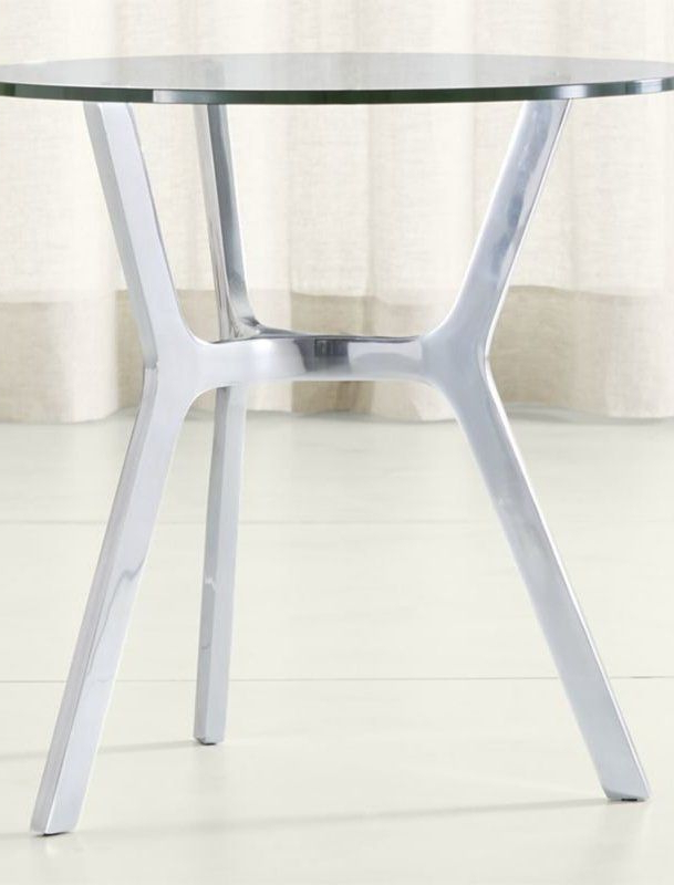 Elke Glass End Table With Polished Aluminum Base (Gallery 3 of 20)