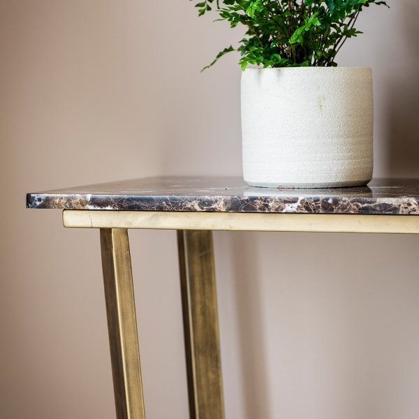 Elke Marble Console Table With Brass Base Crate And Barrel Alluring With Regard To Preferred Elke Glass Console Tables With Brass Base (Gallery 20 of 20)