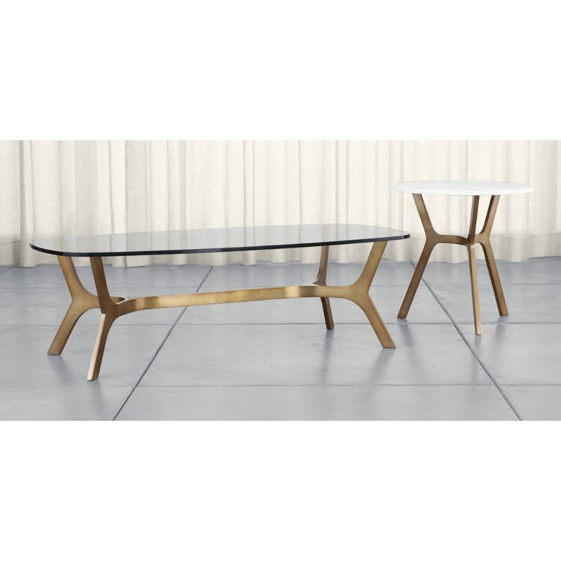 Elke Marble Console Tables With Brass Base Within 2017 Elke Round Marble End Table With Brass Base (View 9 of 20)