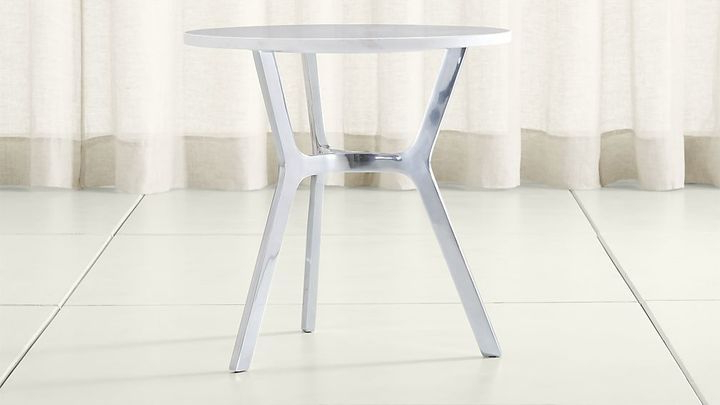 Elke Marble End Table With Polished Aluminum Base With Latest Elke Marble Console Tables With Polished Aluminum Base (View 3 of 20)