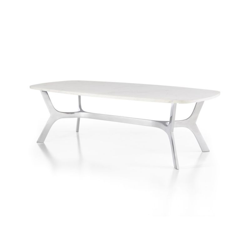 Elke Rectangular Marble Coffee Table With Polished Aluminum Base For Favorite Elke Marble Console Tables With Polished Aluminum Base (View 5 of 20)
