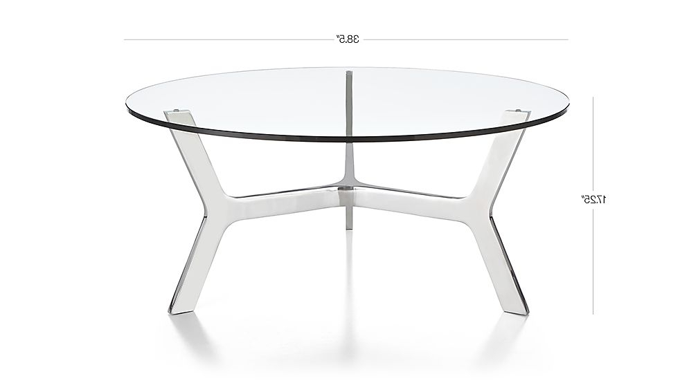 Elke Round Glass Coffee Table With Polished Aluminum Base + Reviews For Trendy Elke Glass Console Tables With Polished Aluminum Base (View 15 of 20)
