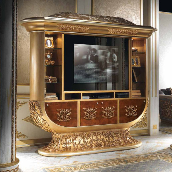 European Style Luxury Imperial Wood Carved Champagne Gold Tv Cabinet For Fashionable Luxury Tv Stands (View 3 of 20)