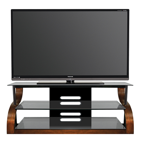 "Expresso Tv Stands For Most Popular Bello Cw342 Curved Wood Tv Stand Up To 73"" Tvs In Vibrant Expresso (Gallery 18 of 20)"