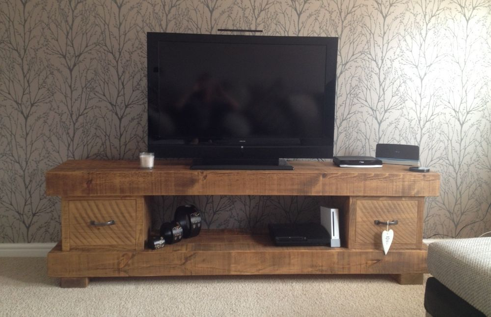 Extra Chunky Solid Wood Tv Unit Cabinet Stand Rustic Plank Beam Intended For Current Chunky Wood Tv Units (Gallery 12 of 20)
