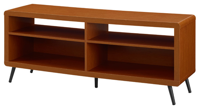 "Famous 58"" Rounded Corner Console, Acorn/black – Midcentury – Entertainment Regarding Tv Stands Rounded Corners (View 4 of 20)"