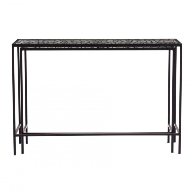 Famous A10739 – Web Set Of 2 Console Tables Black With Scattered Geo Console Tables (View 6 of 20)