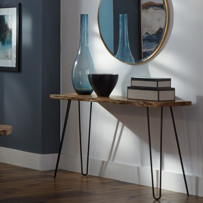 Famous Alaterre Furniture Hairpin Natural Brown Live Edge Media Console Throughout Natural Wood Mirrored Media Console Tables (View 2 of 20)