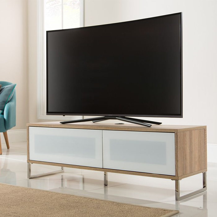 Famous Alphason Designs Adhe1200Lo Helium Tv Stand For Up To 55 Inch Regarding Light Oak Tv Stands Flat Screen (View 2 of 20)