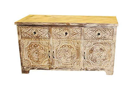 Famous Amazon – Mogul Interior Vintage Rustic Media Console Whitewashed With Hand Carved White Wash Console Tables (View 4 of 20)