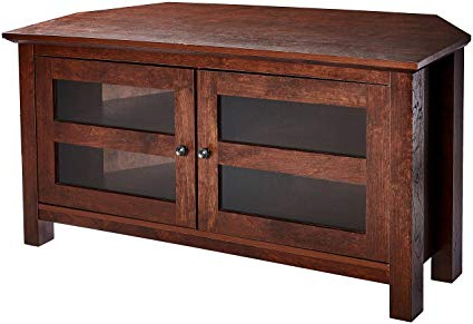 Famous Amazon: Rockpoint Adonia Wood Corner Tv Stand Media Console, 44 Throughout Large Corner Tv Stands (View 4 of 20)