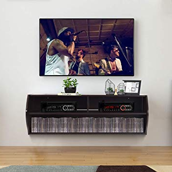 Famous Amazon: Tangkula Wall Mounted Console, 2 Tier Modern Wall Mount Intended For Modern Wall Mount Tv Stands (View 14 of 20)