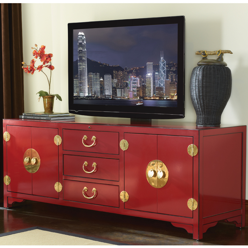 "Famous Black And Red Tv Stands Inside Sligh 100Sr 660 Studio Designs Pacific Isle 75"" Asian Style Tv Stand (View 10 of 20)"