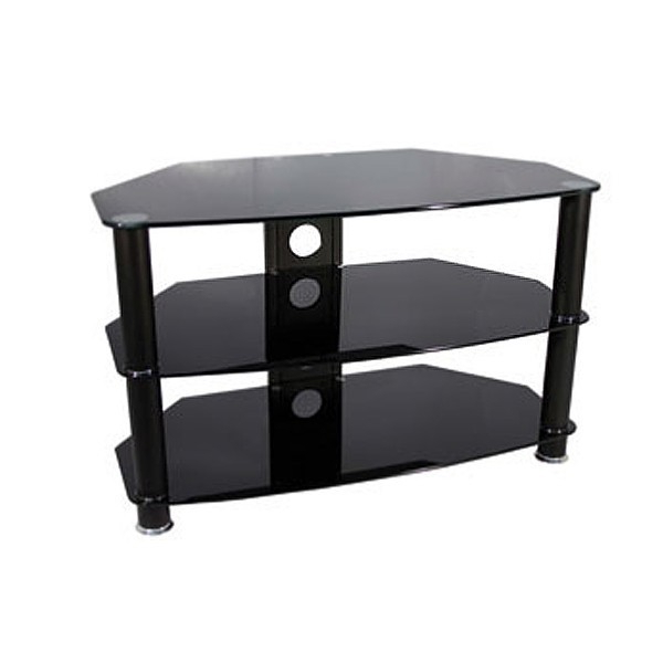 Famous Black Glass Tv Stands In Vivanco Brisa1000B 1000Mm Black Glass Tv Stand – Stands – Sound + Vision (View 7 of 20)
