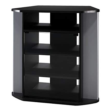 Famous Black Tv Stands With Drawers Regarding Amazon: Bush Furniture Visions Tall Corner Tv Stand In Black And (View 11 of 20)
