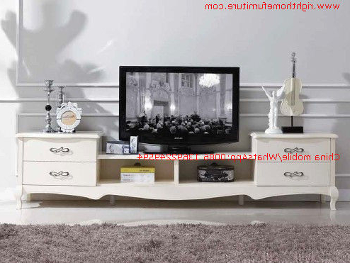 Famous Classic Tv Stands Within Ivory Classic Tv Stand Wood Furniture Audiovisual Cabinet In White (View 11 of 20)