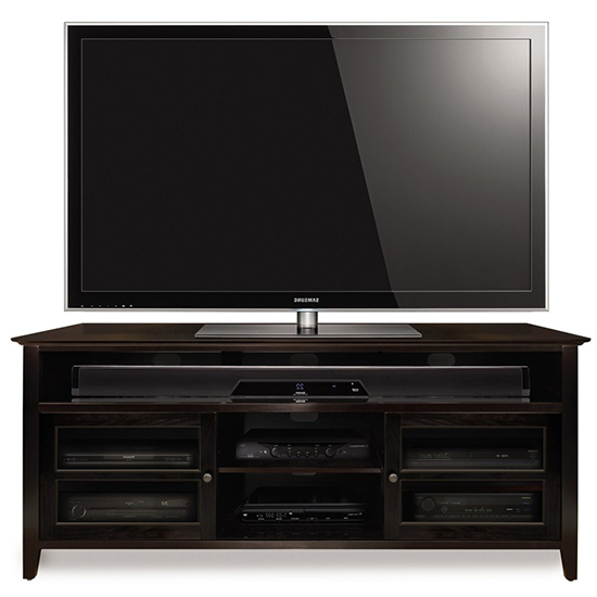 Famous Dark Wood Tv Stands For Bello Wavs99163 No Tools Assembly Wood Audio/video Cabinet Tv Stand (View 10 of 20)