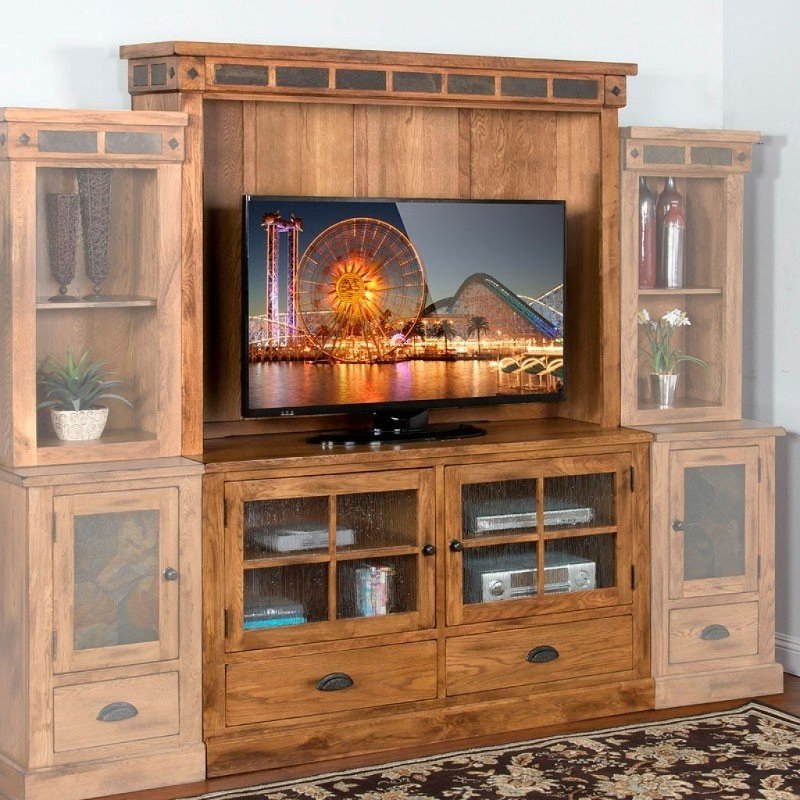 Famous Draper 62 Inch Tv Stands With Oak Brown 2 Piece Classic Entertainment Center – Sedona (View 19 of 20)
