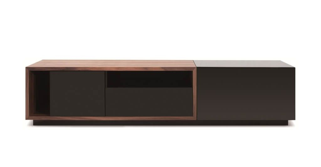 Famous Furniture: Contemporary Walnut Long Console Modern Tv Stands In Dark Inside Modern Walnut Tv Stands (View 3 of 20)