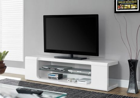 "Famous Glossy White Tv Stands In Tv Stand – 60""l / High Glossy White With Tempered Glass – Entertainment (View 7 of 20)"