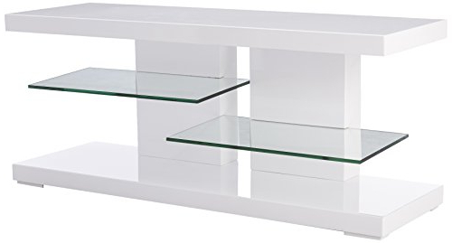 Famous Glossy White Tv Stands Regarding Amazon: Tv Stand With Alternating Glass Shelves Glossy White And (View 8 of 20)