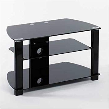 "Famous Iconic Tv Stands With Iconic Ukgl 2407 Black Glass Tv Stand – For Up To 37"" Lcd Tv ( (View 2 of 20)"
