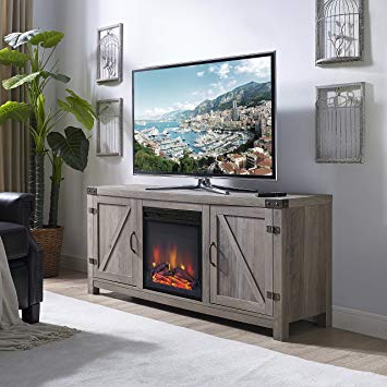 Famous Kilian Grey 60 Inch Tv Stands With Regard To Amazon: Home Accent Furnishings New 58 Inch Barn Door Fireplace (View 5 of 20)