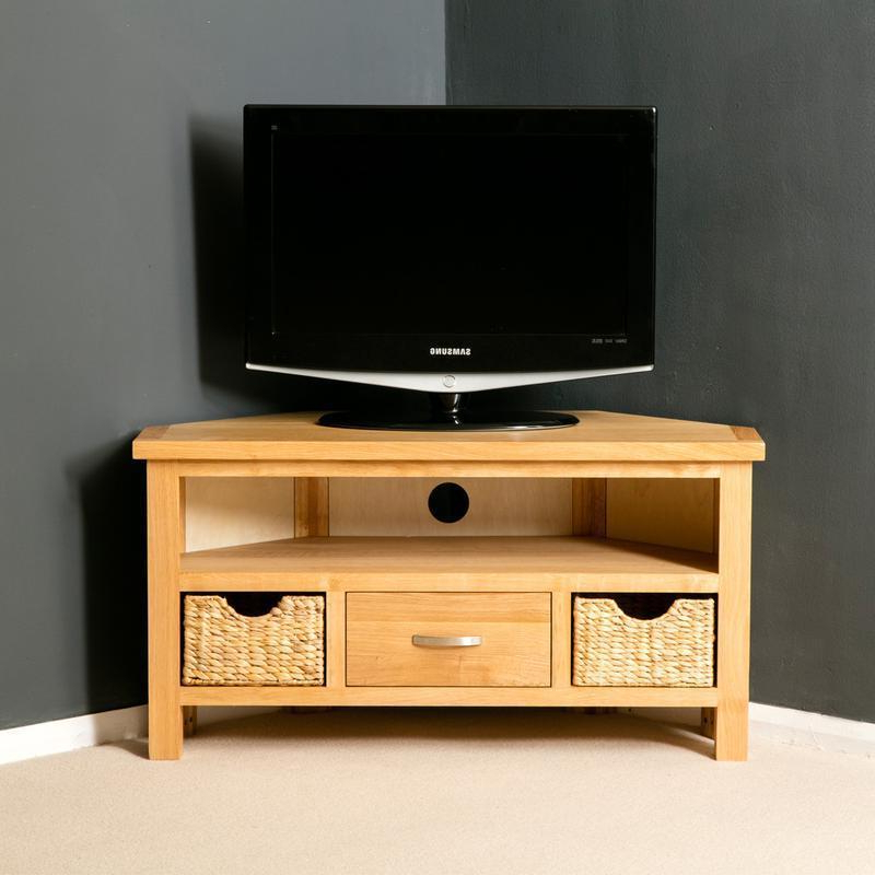 Famous London Oak Corner Tv Stand With Baskets / Light Oak Tv Cabinet Inside Light Oak Corner Tv Cabinets (View 3 of 20)