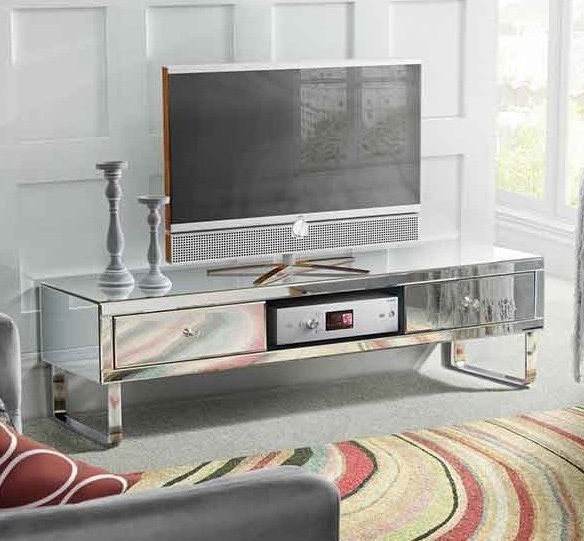 Famous Mirrored Tv Cabinets Furniture Inside Mirrored Tv Stand Glass Cabinet Contemporary Decor Vintage Unit (View 5 of 20)