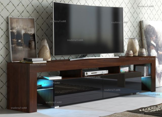 Famous Modern Tv Unit Cabinet Stand Walnut Matt And Black High Gloss Doors For Walnut And Black Gloss Tv Units (View 2 of 20)