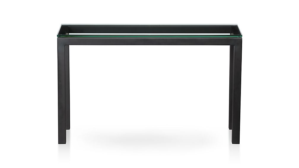 Famous Parsons Clear Glass Top/ Dark Steel Base 48X16 Console + Reviews Regarding Parsons Clear Glass Top & Brass Base 48X16 Console Tables (View 5 of 20)