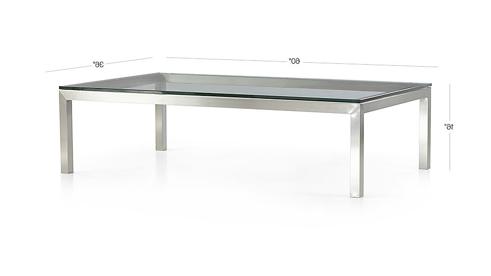 Famous Parsons Clear Glass Top/ Stainless Steel Base 60x36 Large Rectangular Coffee Table For Parsons Clear Glass Top & Dark Steel Base 48x16 Console Tables (View 16 of 20)