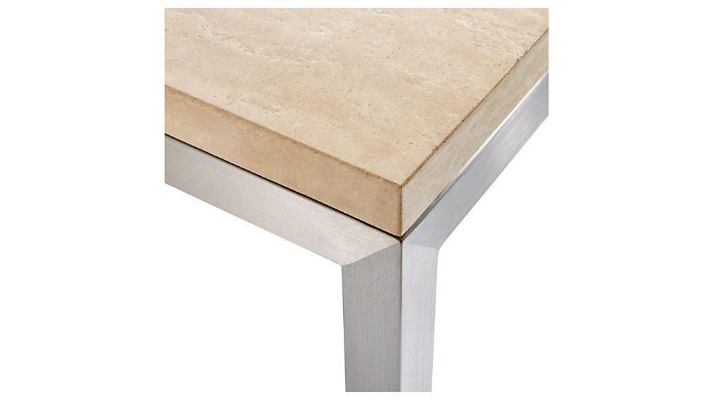 Famous Parsons Travertine Top & Dark Steel Base 48X16 Console Tables For Parsons Travertine Top/ Stainless Steel Base 48X16 Console + Reviews (View 4 of 20)
